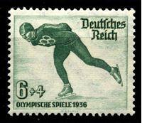 Изображение Германия 3-й рейх 1935 г. Mi# 600 • 6 + 4 pf. • Зимняя Олимпиада 1936 года, Гармиш-Партенкирхен • конькобежец • благотворительный выпуск • MNH OG XF ( кат.- €6 )