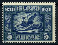 Изображение Исландия 1930 г. SC# 153 • 5 a. • 1000-летие исландского парламента • корабль викингов • MH OG VF ( кат.- $4 )