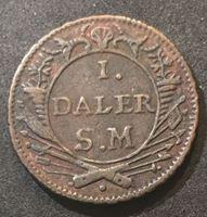 Изображение Швеция 1718 г. S.M. • 1 далер • король Карл II и лев • экстренный выпуск • VF+