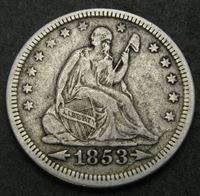 """Picture of США 1853 г. • KM# 78 • квотер(25 центов) • """"Сидящая Свобода"""" • год - тип • Американский орел • регулярный выпуск • XF"""