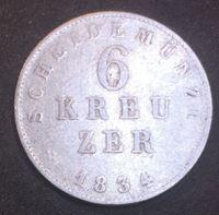 Изображение Германия • Гессен-Дармштадт 1834 г. • KM# 297 • 6 крейцеров • герб герцогства • регулярный выпуск • VF