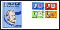 Изображение Гибралтар 1979 г. SC# 378-81 • 3 - 25 p. • Сэр Роуленд Хилл (100 лет со дня смерти) • Used(СГ) XF • полн. серия • КПД