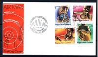 Изображение Папуа Новая Гвинея 1979 г. SC# 491-4 • 7 - 35 t. • Местные музыкальные инструменты • Used(СГ) XF • полн. серия • КПД
