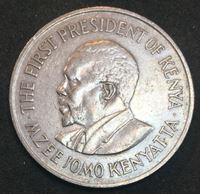 Изображение Кения 1975 г. • KM# 14 • 1 шиллинг • герб Кении • президент Джомо Кениата • регулярный выпуск • AU