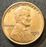 """Изображение США 1953 г. S • KM# 132 • 1 цент • """"пшеничный"""" • Авраам Линкольн • регулярный выпуск • AU"""