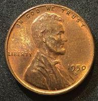 """Изображение США 1950 г. S • KM# 132 • 1 цент • """"пшеничный"""" Линкольн • Авраам Линкольн • регулярный выпуск • BU"""