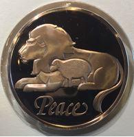 Изображение США 1984 г. • Мир на земле (Рождество) • лев и ягненок • медаль • MS BU люкс! • пруф
