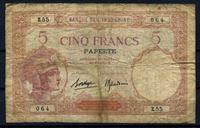 Bild von Таити 1927 г. P# 11c • 5 франков • регулярный выпуск • F-