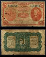 Bild von Голландская Индия 1943 г. P# 110 • 50 центов • Королева Вильгельмина • регулярный выпуск • F