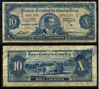 Изображение Коста Рика 1958 г. P# 221c • 10 колонов • А. Эчеверрия (редкая!!) • регулярный выпуск • F