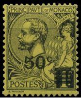 Изображение Монако 1922 г. SC# 35 • 50 c. на 1 fr. • надпечатка нов. номинала • стандарт • MLH OG XF ( кат.- $6 )