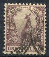 Изображение Австралия • Новый Южный Уэльс 1905-10 гг. Gb# 348 • 1 s. • осн. выпуск • кенгуру • Used VF ( кат.- £3 )