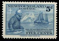 Изображение Ньюфаундленд 1941 г. Gb# 275 • 5 c. • 50-летие основания миссии Гринфела • Уильям Гринфел • MLH OG XF