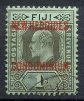 Изображение Новые Гебриды Британские 1910 г. Gb# 16 • 1 sh. • Эдуард VII • надпечатка на м. Фиджи • стандарт • Used XF ( кат.- £8 )