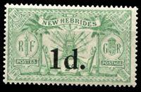 Изображение Новые Гебриды Британские 1924 г. Gb# 40 • 1 d. на 1/2 d. • оружие и идолы • надпечатка нов. номинала • MLH OG XF ( кат.- £4 )