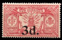 Изображение Новые Гебриды Британские 1924 г. Gb# 41 • 3 d. на 1 d. • оружие и идолы • надпечатка нов. номинала • MLH OG XF ( кат.- £4 )