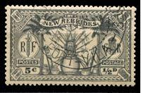 Изображение Новые Гебриды Британские 1925 г. Gb# 43 • 1 d. (5 c.) • бивалютный выпуск • оружие и идолы • Used(ФГ) XF ( кат.- £20 )