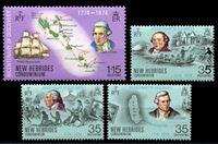Изображение Новые Гебриды Британские 1974 г. SC# 189-92 • 35 c.(3) и 1.15 fr. • 200-летие открытия Гебридских островов • MNH OG XF • полн. серия