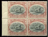 Изображение Северное Борнео 1897-1902 гг. Iv# 103 • 8 c. • осн. выпуск • парусник • фискальный выпуск • MNH OG XF+ • кв.блок ( кат.- €30 )