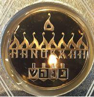 Изображение США 1985 г. • Ханука • еврейские символы • медаль • MS BU люкс! • пруф