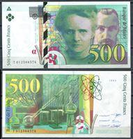 Изображение Франция 1994 г. P# 160a • 500 франков • Мария и Пьер Кюри • регулярный выпуск • UNC пресс ( кат. - $250 )