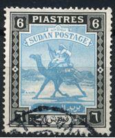 Изображение Судан 1948 г. Gb# 107 • 6 pt • воин-бедуин на верблюде • стандарт • Used VF ( кат.- £4 )