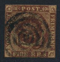 Изображение Дания 1851 г. SC# 2 • 4 rs. • королевская эмблема • Used VF ( кат.- $40 )