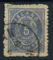 Изображение Исландия 1876 г. SC# 9 • 5 a. • Редкая!!! • Used F ( кат.- $900 )