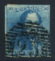 Изображение Бельгия 1849 г. SC# 2 • 20 c. • король Леопольд I • Used VF ( кат.- $60 )