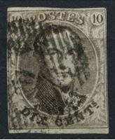 Image de Бельгия 1851-4 гг. SC# 6 • 10 c. • король Леопольд I • Used VF ( кат.- $9 )