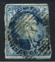 Image de Бельгия 1851-4 гг. SC# 7 • 20 c. • король Леопольд I • Used VF ( кат.- $8 )
