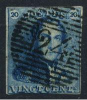 Picture of Бельгия 1849-50 гг. SC# 4 • 20 c. • в.з. в рамке • король Леопольд I • Used XF ( кат.- $65 )