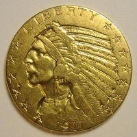 """Изображение США 1911 г. • KM# 129 • 5 долларов • """"Голова индейца"""" • регулярный выпуск • VF"""