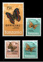 Изображение Танзания 1973 г. • 20 c. - 1.50 sh. • Бабочки (с надпечатками и без) 4 марки • MNH OG XF