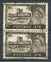 Изображение Великобритания 1955-8 гг. Gb# 536 • 2s.6d. • Замки Великобритании • Кэррикфергюс • стандарт • Used VF • пара ( кат.- £5 )