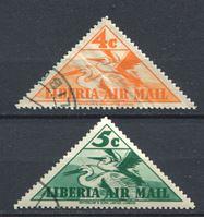 Изображение Либерия 1938 г. SC# C7-8 • 4 и 5 c. • пеликаны • авиапочта • Used VF