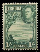 Изображение Бермуды 1938-52 гг. Gb# 115 • 1 sh. • Георг VI основной выпуск • Виноградный залив • MNH OG XF ( кат.- £2,5 )