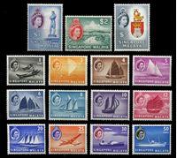 Изображение Сингапур 1955 - 1959 гг. • Gb# 38-52 • 1 c. - $5 • Елизавета II основной выпуск • корабли и самолеты • MH OG VF • полн. серия ( кат.- £130 )