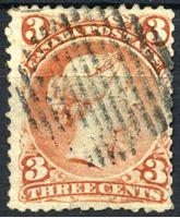 Изображение Канада 1868 г. • SC# 33 (Gb# 58a )  • 3 c. • горизонтальное верже! RARE!!! • королева Виктория • Used VF ( кат.- $2000 )