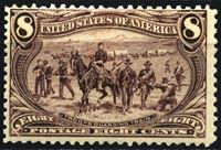 """Изображение США 1898 г. • SC# 289 • 8 c. • Выставка """"Транс-Миссисипи"""" • кавалерийский эскорт • MH OG VF ( кат.- $175 )"""