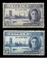 Изображение Кипр 1946 г. • Gb# 164-5 • 1 ½ и 3 pi. • выпуск Победы • MH OG VF • полн. серия