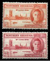 Изображение Северная Родезия 1946 г. • Gb# 46-7 • 1 ½ и 2 d. • выпуск Победы • MH OG VF • полн. серия