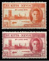 Изображение Сент-Китс и Невис 1946 г. • Gb# 78-9 • 1 ½ и 3 d. • выпуск Победы • MH OG VF • полн. серия