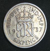 Изображение Великобритания 1937 г. • KM# 852 • 6 пенсов • первый год чеканки типа • Георг VI • регулярный выпуск • AU