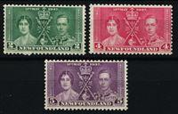 Изображение Ньюфаундленд 1937 г. • Gb# 254-256 • 2,4 и 5 c. • Коронация Георга VI • Mint OG/NG VF • полн. серия ( кат.- £5 )