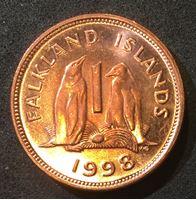 Изображение Фолкленды 1998 г. • KM# 2a • 1 пенни • Елизавета II • пингвины • регулярный выпуск • MS BU