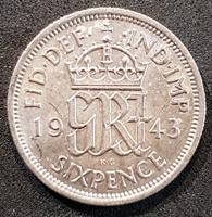 Изображение Великобритания 1943 г. • KM# 852 • 6 пенсов • Георг VI • регулярный выпуск • BU-