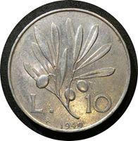 Изображение Италия 1949 г. • KM# 90 • 10 лир • пегас • регулярный выпуск • BU ( кат.- $30,00 )