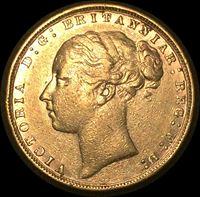 Изображение Великобритания 1876 г. • KM# 752 • соверен • золото • королева Виктория • св. Георгий • регулярный выпуск • XF-AU