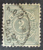 Изображение Вюртемберг 1894 г. • Mi# 60 • 2 пф. • Белая цифра в кругу • Used XF ( кат.- €1,5 )